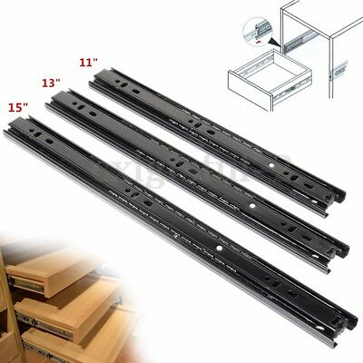 1Pair 3 section Telescopic Steel Ball Bearing Drawer Runner Soft Close For 30KG