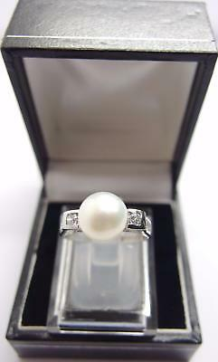 925 Sterling Silver ring Freshwater Cultured Pearl Ring Size N UK 6.5 US #M