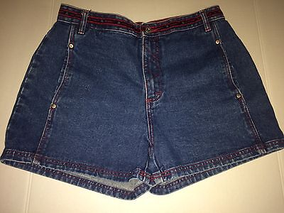 B Equipment Jean Shorts Red Accents High Waisted Mom Jeans Size 13 Free Shipping