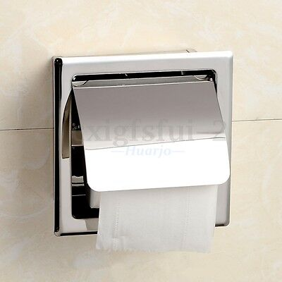 Square Loo Toilet Tissue Paper Roll Holder Recessed Concealed Stainless Steel