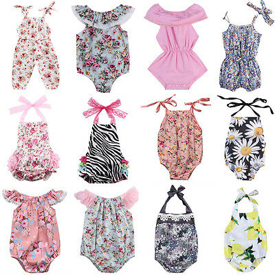 US Newborn Infant Baby Girl Floral Romper Bodysuit Jumpsuit Outfits Sunsuit Lots