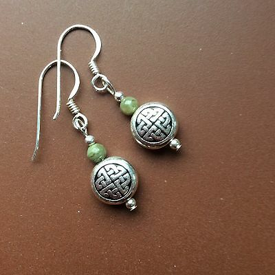 Connemara marble Celtic earrings. Sterling silver wires. Irish jewellery gift.
