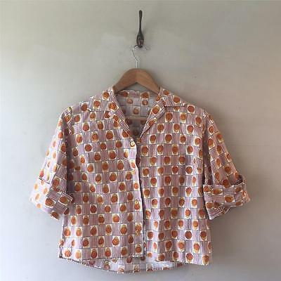 True Vintage 1950s/60s Bold Print Cotton Top Blouse Shirt UK12 14 M