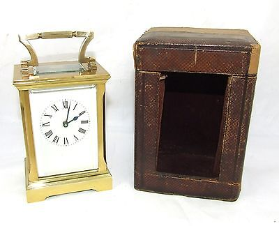 Antique Brass Carriage Clock with Bevelled Glass & Travel Case ACG AC GIBSON