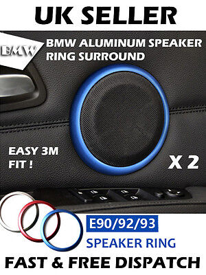 BLUE BMW E90 E92 3 Series Aluminum Speaker Ring Surround Audio Custom Mod