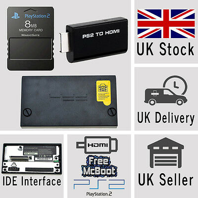 Sony Playstation 2 PS2 HDMI Adaptor 8MB McBoot Memory Card IDE Hard Drive COMBO