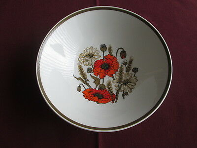 "Vintage J G Meakin Poppy By Eve Midwinter Large Serving Bowl 8.5"" Wide"
