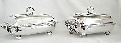 Fine Pair of 1807 Sterling Silver Georgian Covered Entree Dishes, Crested, 6413g