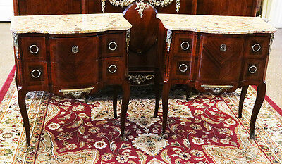 Rare Pair OVER-SIZED French Breche Marble Bronzed Walnut Commodes Night Stands