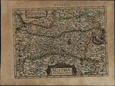 Austria-Hungary Germany Eastern Europe Moravia c.1628 Mercator minor old map