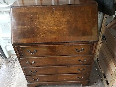Writing bureau mahogany vintage writing desk  4 draw