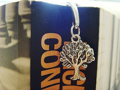 Silver Toned Book Mark With Hoop And Tibetan Tree Of Life Charm