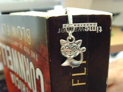 Silver Toned Book Mark With Hoop With Tibetan Silver Grinning Cheshire Cat Charm