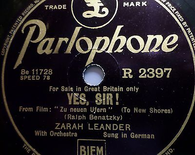 "ZARAH LEANDER ""Longing (Sehnsucht) / Yes Sir!"" Parlophone 78rpm 10"""