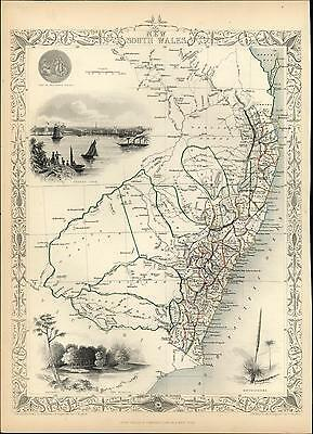 New South Wales Australia The Murray Sydney Cove c.1850 antique old Tallis map