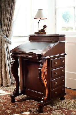 Solid Mahogany Davenport Desk Green Leather Antique Reproduction DSK009G NEW