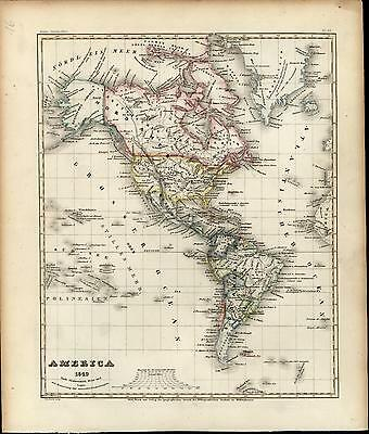 North South Central America Texas Mexico Canada c.1850 antique Meyer map