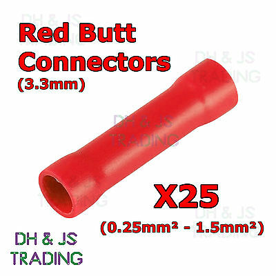 25 x Red Insulated Butt Connectors 3.3mm Connector Crimp Terminal Terminals