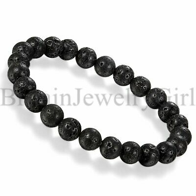 Men Women 8MM Black Lava Rock Stone Yoga Mala Beaded Charm Chain Wrist Bracelet