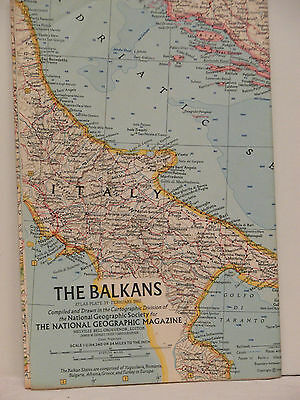 Vintage 1962 National Geographic Map of the Balkans