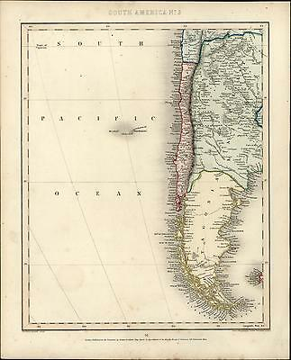South America Patagonia Chile Argentina Pacific 1848 Gilbert old antique map