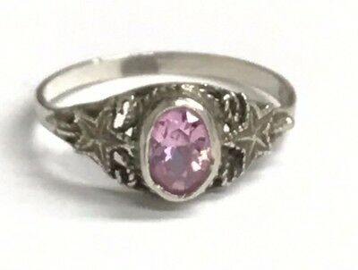 Vintage Oxidized Sterling Silver Pink Sapphire Star Fish Dotted Cocktail Ring