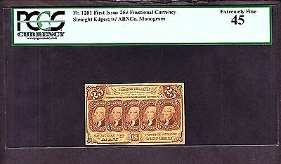 US 25c Fractional Currency Note 1st Issue w/ 'ABC' FR 1281 PCGS 45 Ch AU