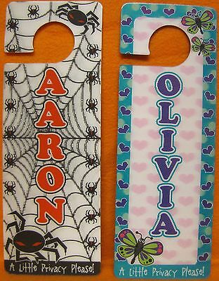 Personalized Name Door Hanger Privacy 3D Sign Warning Flower Spider A Thru O