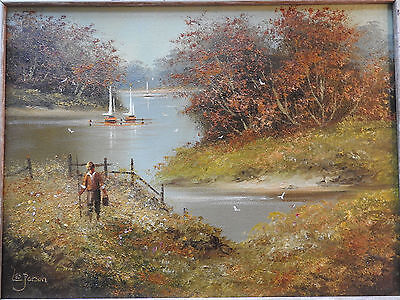 Original painting  painted by Les Parson ,fisherman, framed,signed oil on canvas