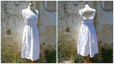 Antique  French 1900s Edwardian  white  cotton dress underdress embroidered