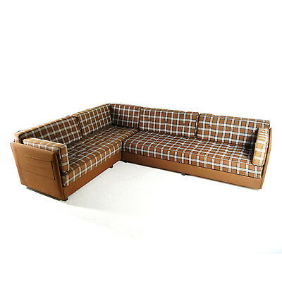 Retro Vintage Danish Fabric Corner L Shape Sofa Bed Mid Century Modern 60s 70s