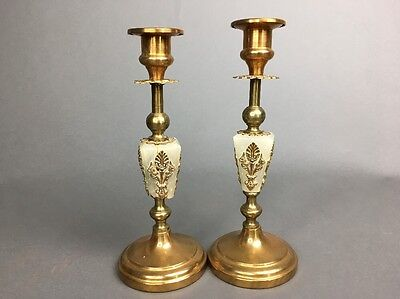 Antique Victorian Alabaster & Copper Brass Weighted Candlesticks Holders 8""