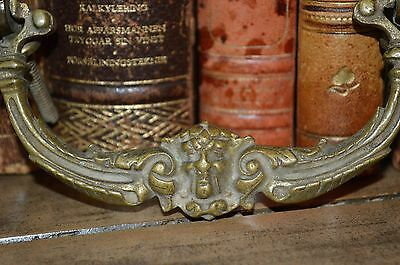 Antique French Bronze Gargoyle Figural Drawer Handle Pull