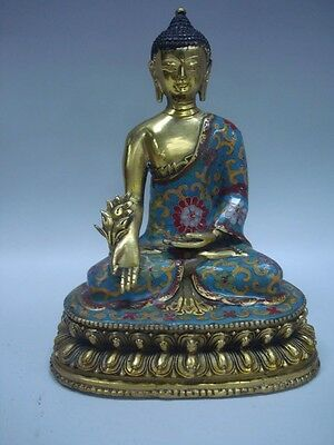 Unusual Old Chinese Gilt Bronze Buddha Seated Statue QianLong Marks QA001