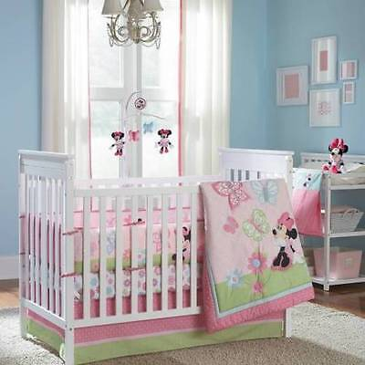 9-Pc Disney Baby Minnie Mouse Crib Bedding Towel Musical Mobile Bumper Set
