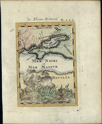 Little Tartary Black Sea Turkey 1719 decorative Mallet old antique map
