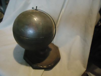 Vintage Metal World Globe With Months, Zodiac Signs, and Seasons From Estate