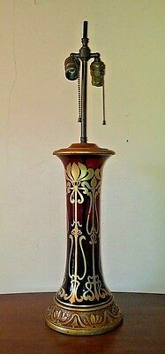 antq ART NOUVEAU bohemian MOSER glass GOLD overlay RUBY glass LAMP