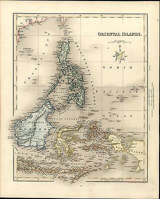 """Oriental Islands"" Philippines Borneo New Guinea 1848 Gilbert old antique map"