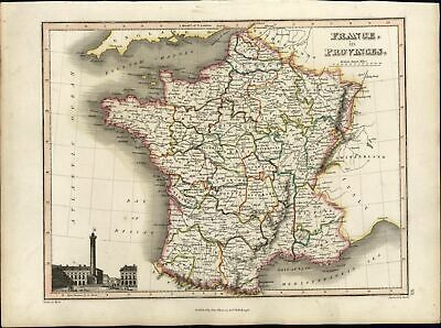 France in Provinces w/ Paris view beautiful 1819 Thomson antique old map