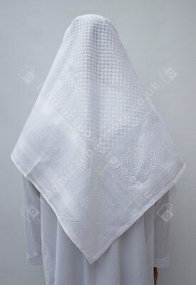 Large Arab Scarf, Shemagh Keffiyeh Islamic Headscarf White