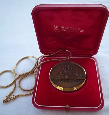Orig.medal with chain  Olympic Games MONTREAL 1976 // in Box  !!  A TRUE RARITY