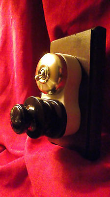 "Vintage Industrial Switch Electrical Socket ""G.E.C"" with Plug Ceramic Brass Wood"