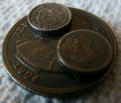 """Lot of Three 1904 Panama .900 Silver Coins: (1) Ten Cents & (2) 2.5 Cent """"Pills"""""""