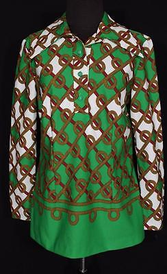 Rare Vintage French 1970's Green  Poly Vivid Link  Print Blouse Size Large