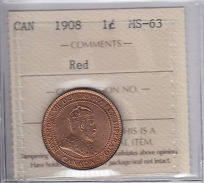 1908 Canada One Cent - ICCS MS-63 Red