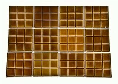 Lot Of Twelve Matching C. 1880's Victorian Era Square Grid Design Fireplace Tile