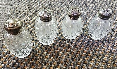 Four Nice cut glass and sterling salt & pepper shakers