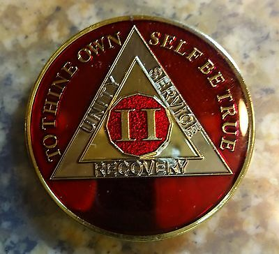 AA Tri-Plate Alcoholics Anonymous Red Gold Coin 2 Years Chip Medallion Sober