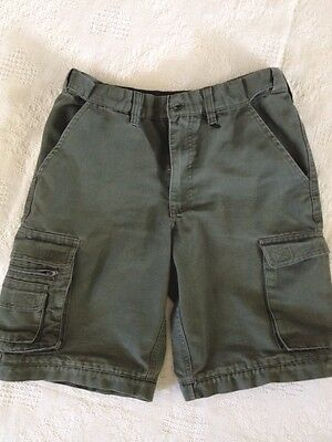 Boy Scout Cargo Shorts Green Size Youth 12 Cotton/Poly Blend /Adjustable Waist